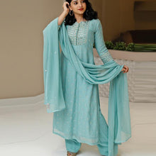 Load image into Gallery viewer, Light Blue Color Wedding Wear Embroidered Suit With Dupatta