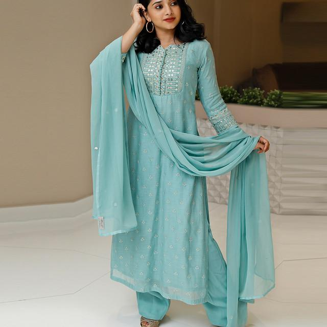 Light Blue Color Wedding Wear Embroidered Suit With Dupatta