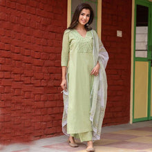 Load image into Gallery viewer, Mint Green Color Designer Cotton Suit