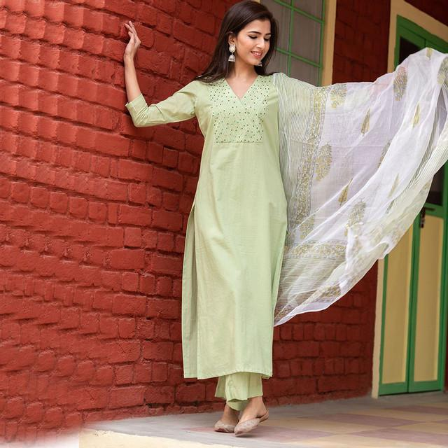 Mint Green Color Designer Cotton Suit