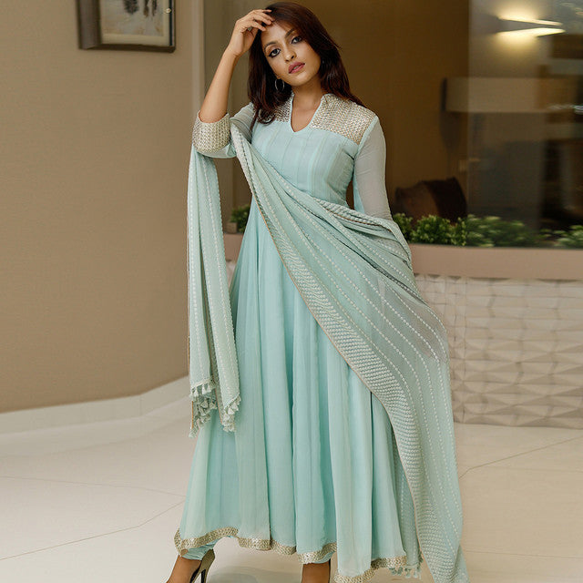 Pleasance Sky Blue Colored Festive Wear Embroidered Suit