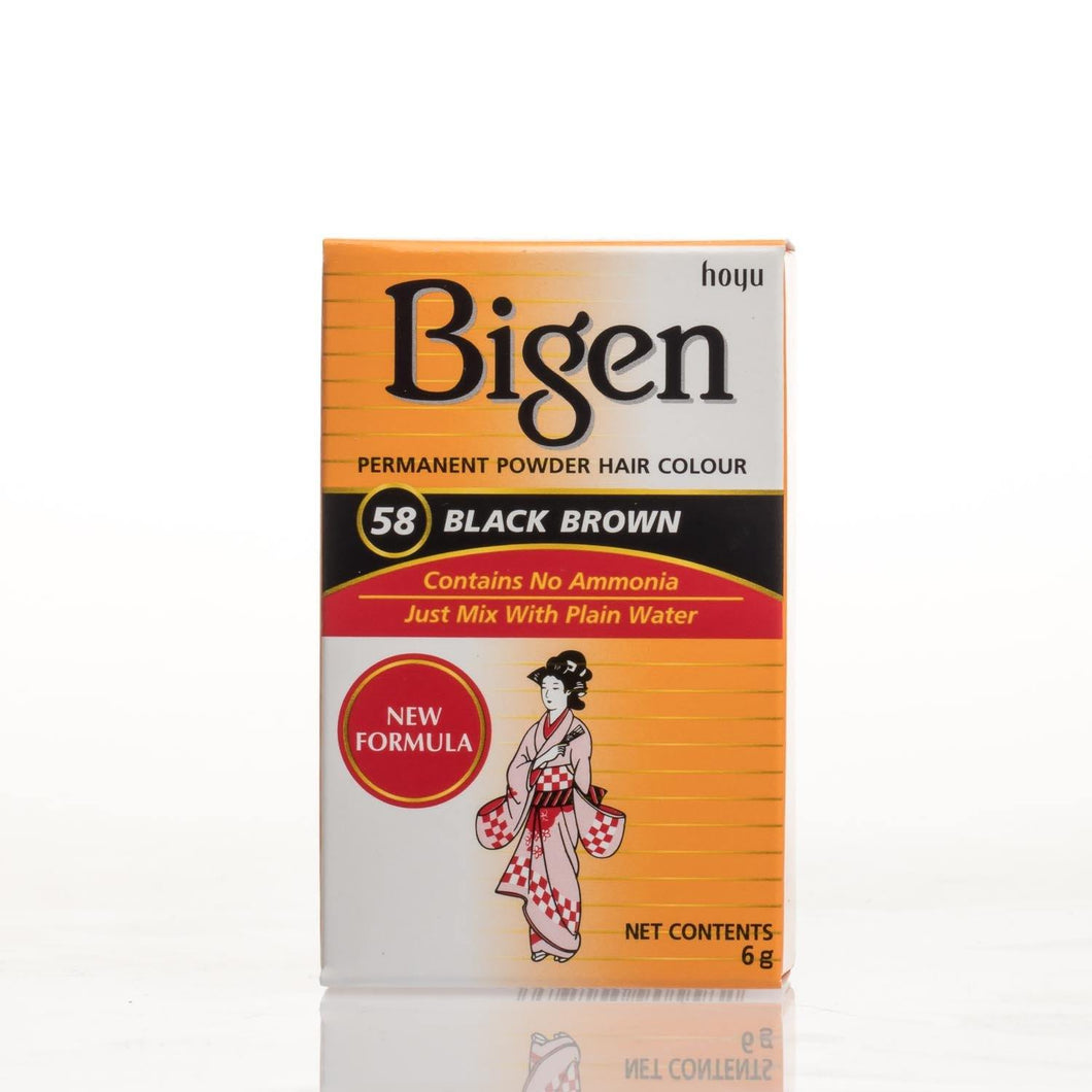Bigen Powder Permanent Hair Color - 58 - Black Brown