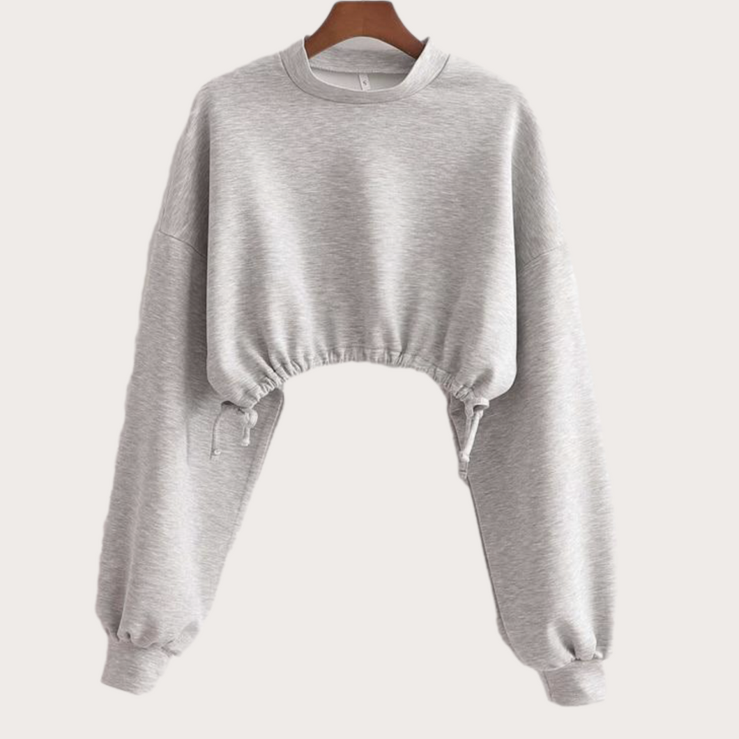 Cropped Pull-String Sweater