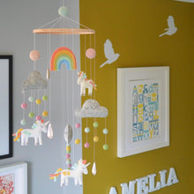 Load image into Gallery viewer, Whimsical Unicorn & Rainbow Felt Mobile