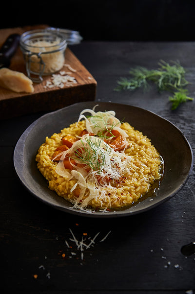 Butternut squash, fennel and basil risotto