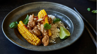 Stir-fried Chicken with Baby Corn & Basil