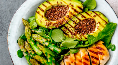 Grilled Chicken, Avocado and Asparagus Power Bowl