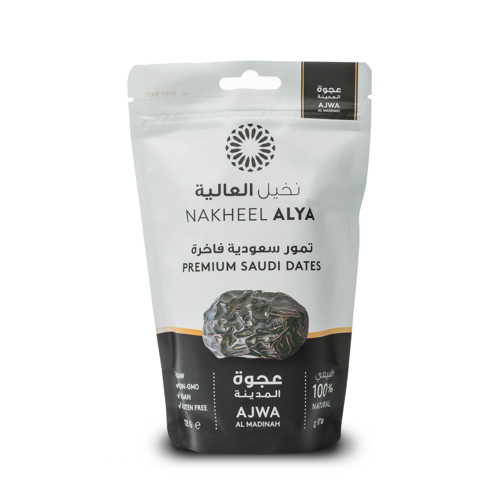 Nakheel Alya Premium Madinah Ajwa Dates in Resealable Pouch Award Winning Dates