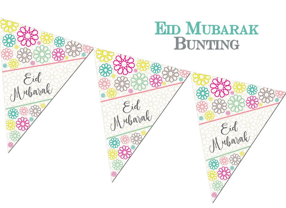 Eid Mubarak Bunting - Geo Eid Party Decoration Eid Tableware