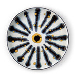 Decorative round platter with hand-painted gold and blue sunburst motif.