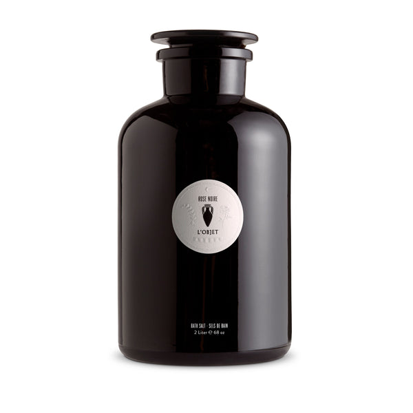 Large Apothecary Rose Noire Bath Salt - Black Glass Bottle - Fragrant with Delectable Aroma for Calming Effect