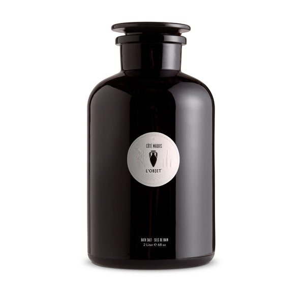 Large Apothecary Cote Maquis Bath Salt - Black Glass Bottle - Fragrant with Delectable Aroma for Calming Effect