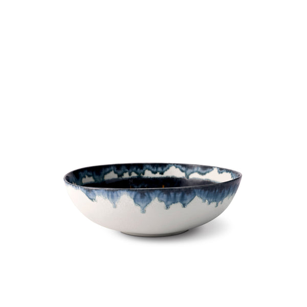 Small Bohême Bowl in Blue and White - Hand-Painted Porcelain with Reactive Glaze - Versatile and Functional with Vibrant Style