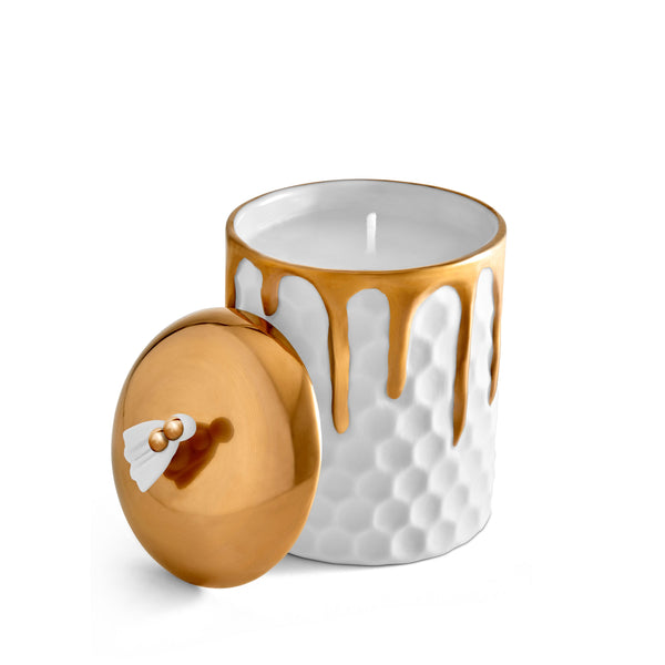 Beehive Candle by L'OBJET - Elevated Geometric Shapes - Adorned with Hand-Gilded Drips of 24K Gold