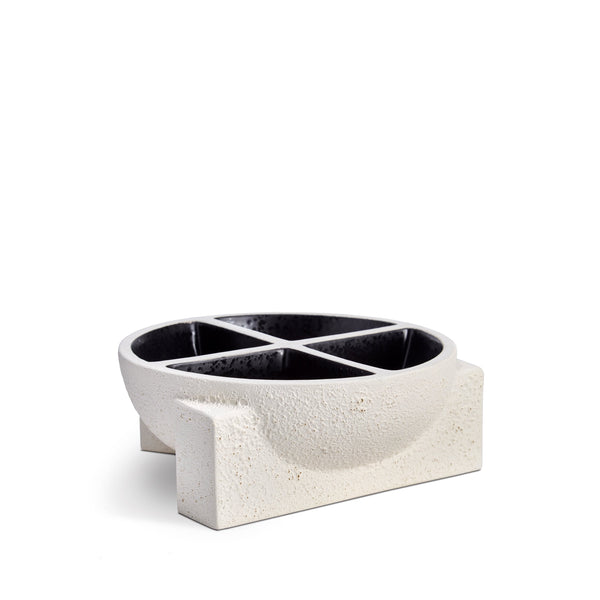 Cubisme Condiment Server in Black and White - Crafted from Lightly Textured Earthenware - Simple Geometric Shape with Subtle Style