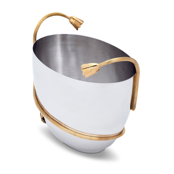 Deco Leaves Champagne Bucket - Features Rich Textures and Geometric Designs - Hand-Crafted Piece Adorned with 24K Gold-Plated Accents