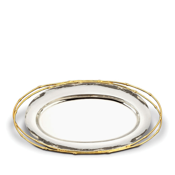 Large Evoca Oval Platter - Elegant & Sophisticated with Metallic and Organic Features - Contemporary and Timeless Aesthetic
