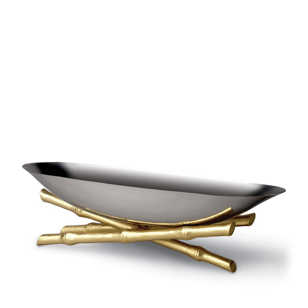 Large Bambou Serving Boat - Modernized with Infused Organic Elements - Hand-Gilded 24K Gold-Plated Bamboo & Stainless Steel
