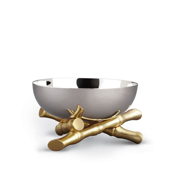Medium Bambou Bowl - Modernized with Infused Organic Elements - Hand-Gilded 24K Gold-Plated Bamboo & Stainless Steel