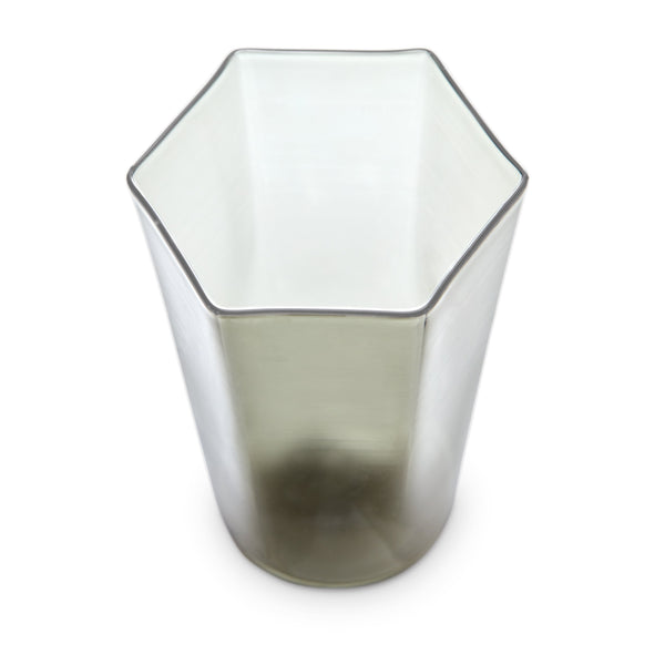 Hex Water Glass in Smoke by L'OBJET - Hand-Crafted with Intricate Geometric Style - Versatile for Form and Function
