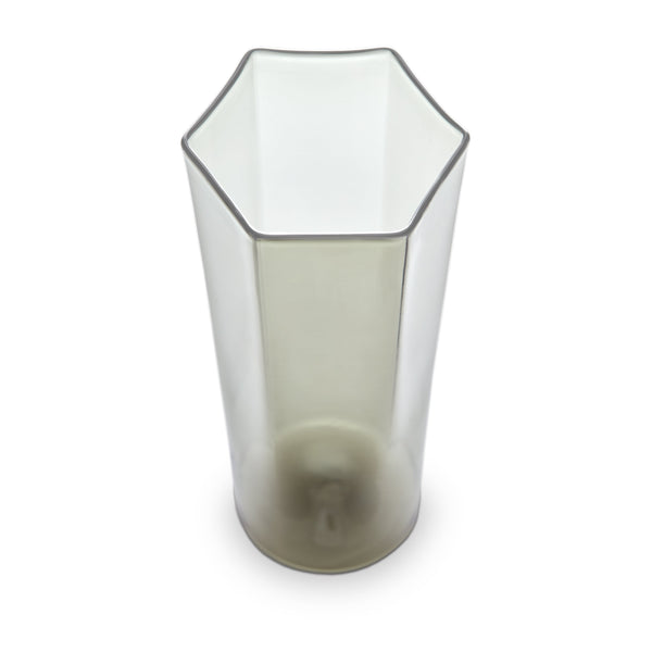 Hex Champagne Glass in Smoke by L'OBJET - Hand-Crafted with Intricate Geometric Style - Versatile for Form and Function