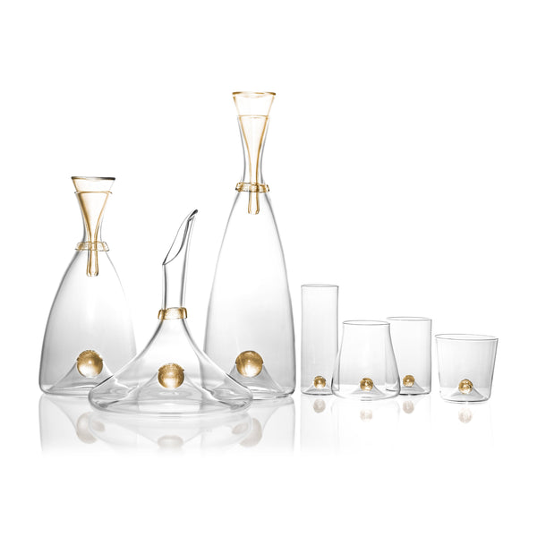Oro Double Old Fashioned Glass in Gold - Timeless Piece Featuring Signature Orb Wrapped in Crackled Gold Leaf