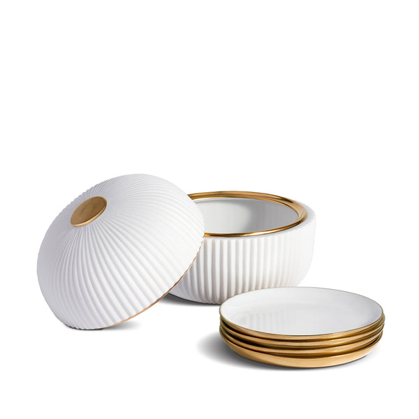 Ionic Box and Plates in White by L'OBJET - Functional and Minimal Design Inspired by the Ionic Order of Classical Architecture
