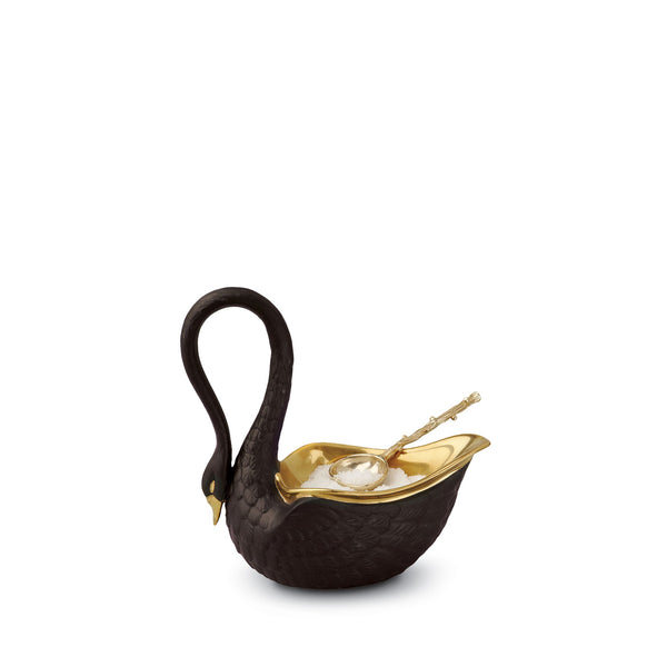 Small Swan Salt Cellar in Black - Luminescent Detail Porcelain - Modernized with Intricate Hand-Gilded Features