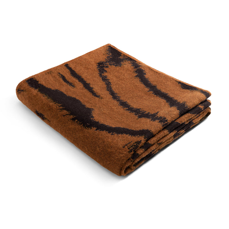 Tiger Jacquard Throw in Natural - Woven from Baby Alpaca Wool - Natural Tones for a Sense of Warmth & Style