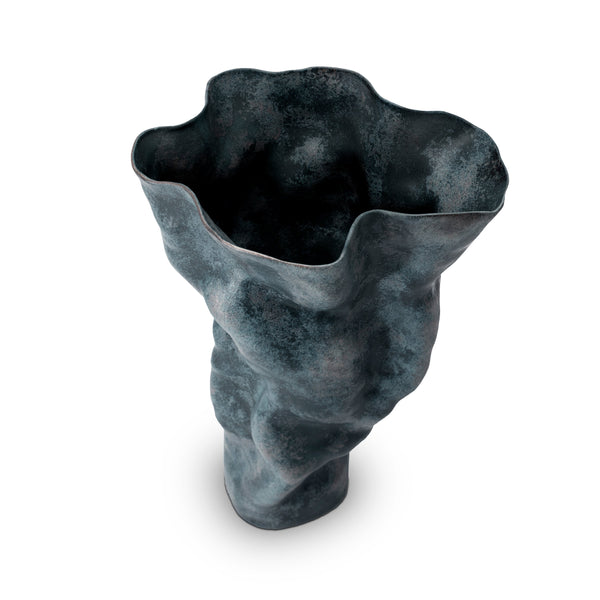 Tall Timna Vase in Aged Iron by L'OBJET has a Sculptural Form - Hand-Crafted Workmanship from Portuguese Atalier