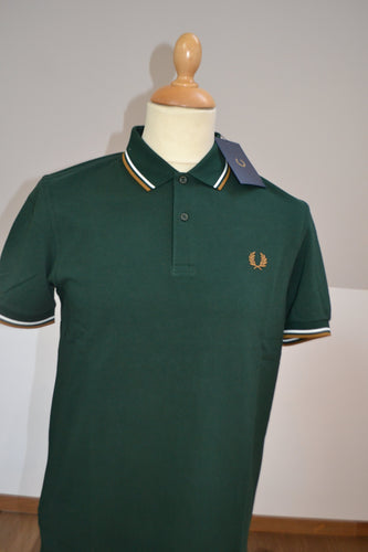 Polo Fred Perry Vert/Blanc/Camel