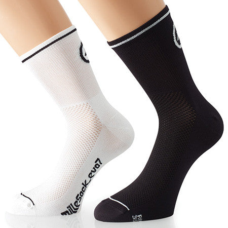 Assos 1.4 Mille Sock_EVO7 Twin Pack white and black