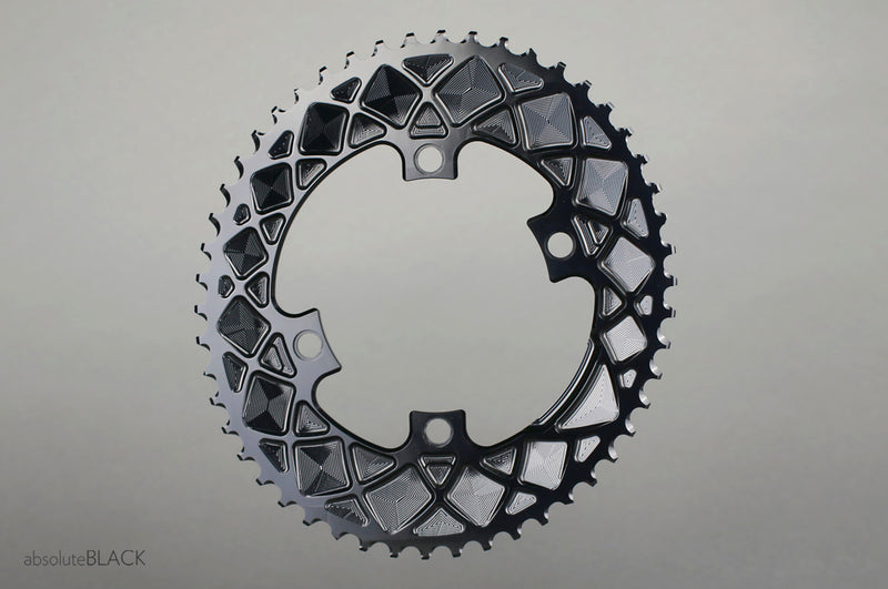Absolute Black OVAL 110BCD 4 Holes, 2X Chainring, asymmetric - Racer Sportif