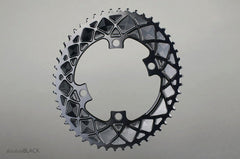 Absolute Black OVAL 110BCD 4 Holes, 2X Chainring, asymmetric, Inner Ring - Racer Sportif