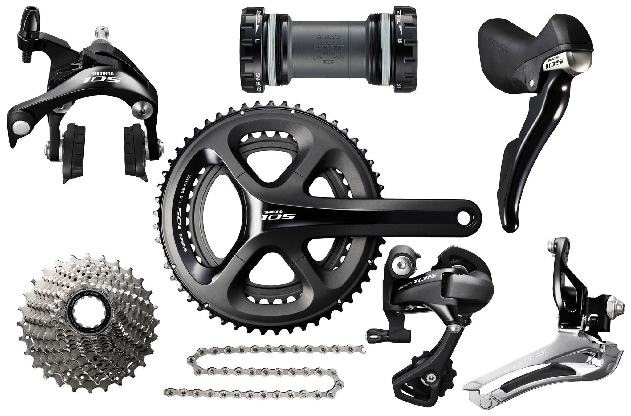 Shimano 105 11 Speed Mechanical Groupset Black - Racer Sportif