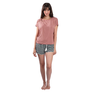 Solid Rose Pink T-shirt on Patterned Shorts