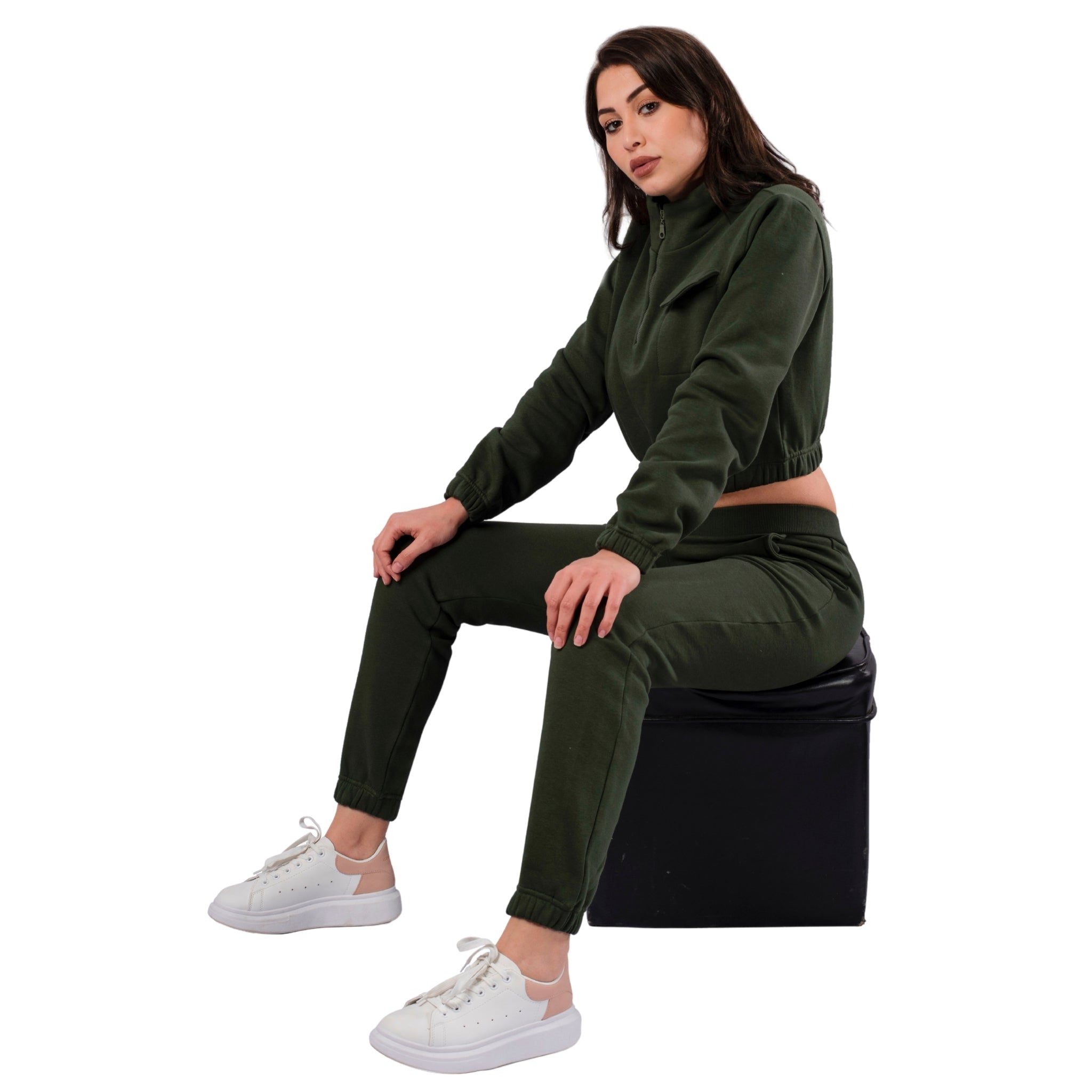 Cropped Cotton Fleece Tracksuit / Front Pocket