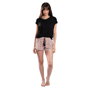 Black T-shirt On Patterned Shorts