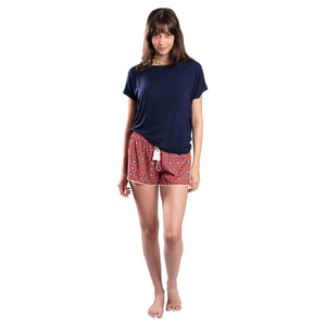 Navy Blue T-shirt On Patterned Shorts