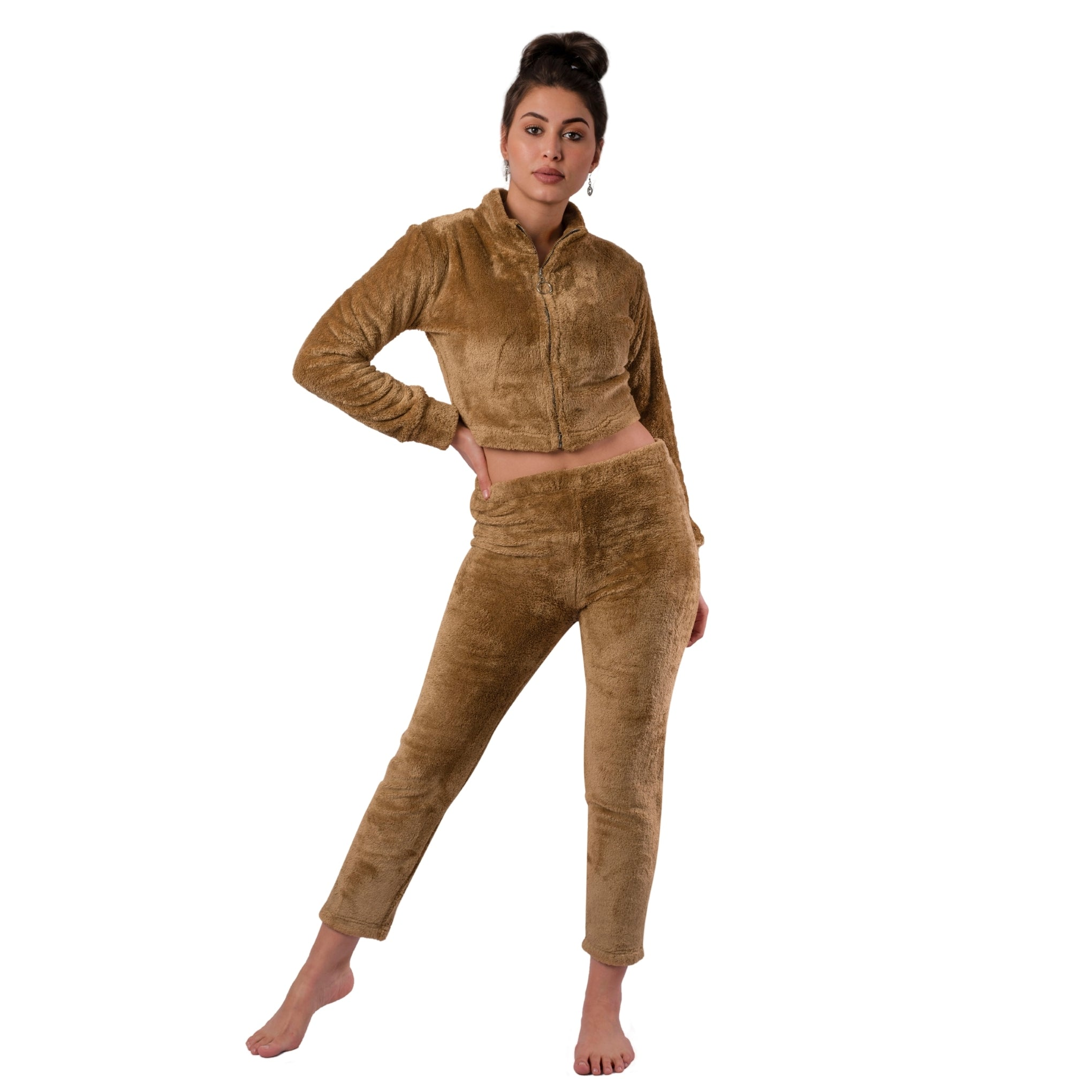 Fur Co-ord Loungewear Set / Zipper