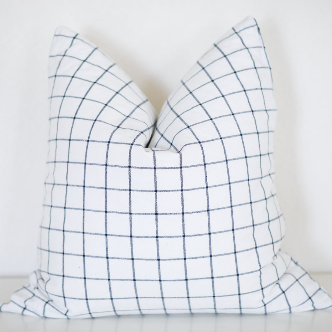 Charcoal and White Plaid Pillow Cover