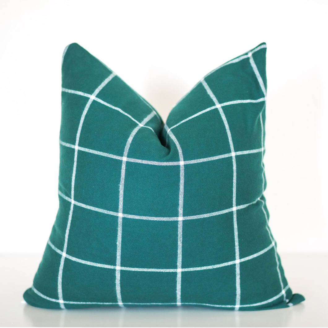 Green and White Window Pane Plaid Pillow Cover