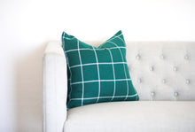 Load image into Gallery viewer, Green and White Window Pane Plaid Pillow Cover