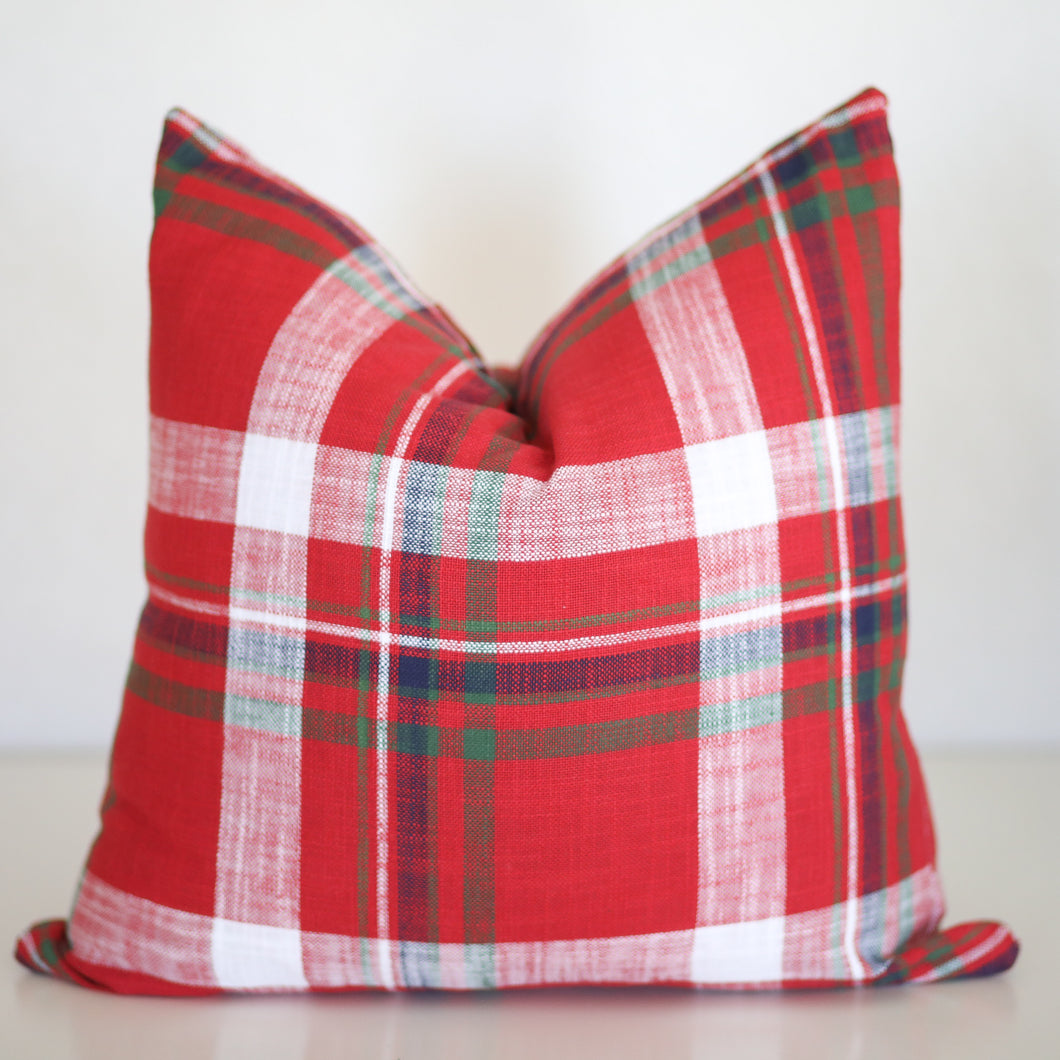 Red Plaid Pillow Cover