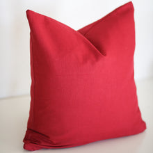 Load image into Gallery viewer, Red Linen Pillow Cover