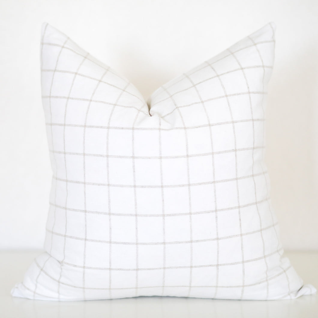 Tan and White Plaid Pillow Cover