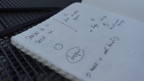 Founder's sketch notes on SADE Jewelry brand's creation process