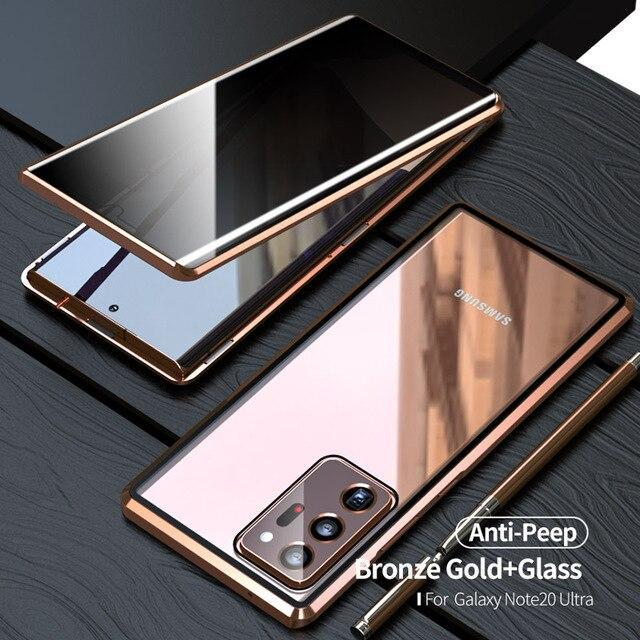 Magnetic Adsorption Anti-Peep Double-sided Tempered Glass All-Screen defence Metal Frame Phone Case For Samsung S20/S205G S20+/S20+5G S20Ultra Series