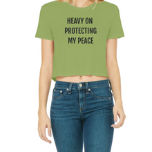 Load image into Gallery viewer, Protecting My Peace- Classic Women's Cropped Raw Edge T-Shirt