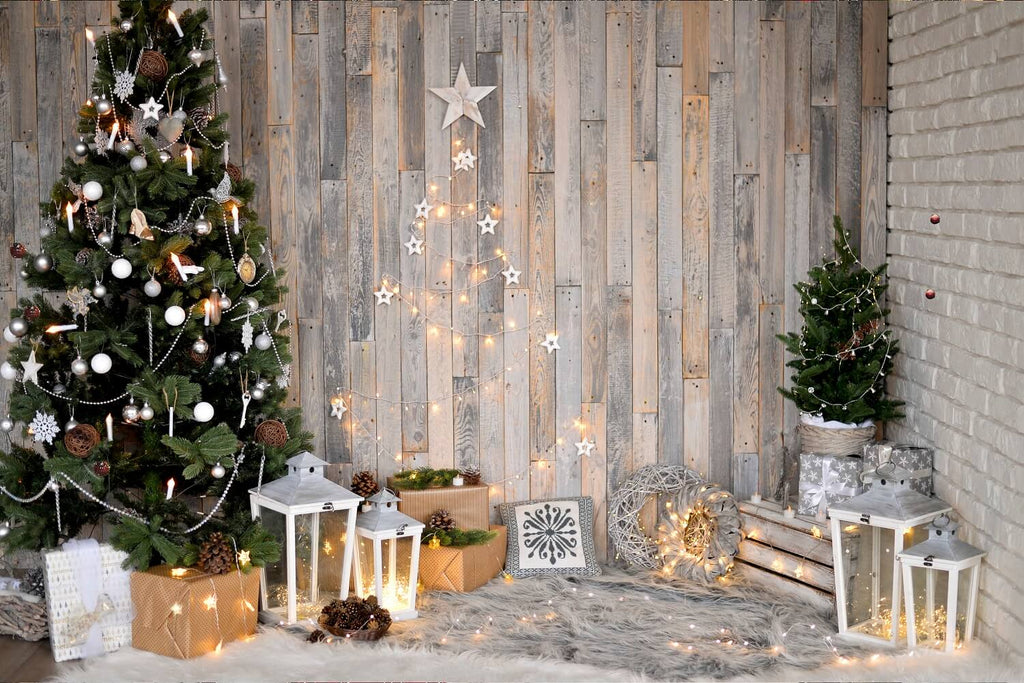 Wood Wall Decorations Green Christmas Tree With White Stars And Yellow Ibackdrop Uk